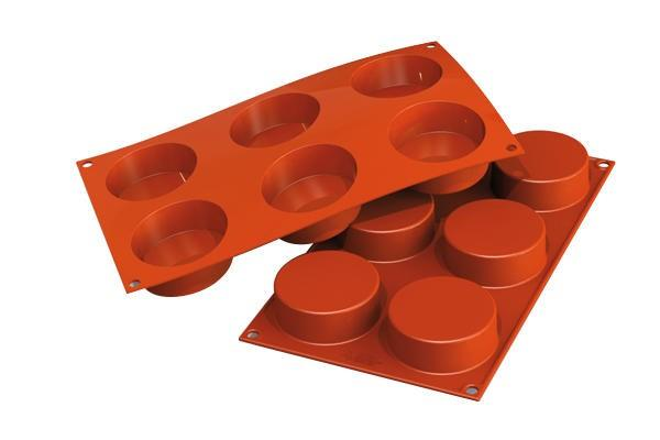 Sf127 - stampo in silicone n.6 cylinders Ø 70 h 35 mm terracotta 36.127.00.0060 c.d. 3924.90.00