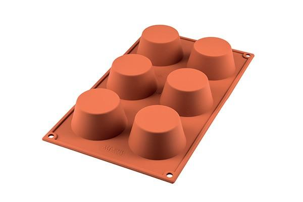 Sf023 - stampo in silicone n.6 medium mufffins Ø69 h 35 mm terracotta
